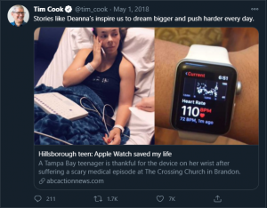 Tim cook tweet for Apple watch on detecting AFIB